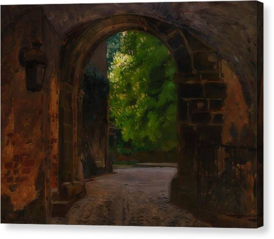 Gateway Arch Canvas Print - Entrance To The Castle Wiesenburg In The Mark by Friedrich Kallmorgen