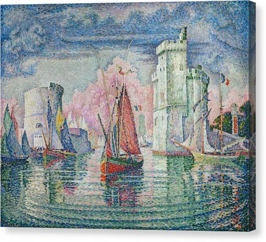 Pointillism Canvas Print - Entrance To The Harbour Of La Rochelle by Paul Signac