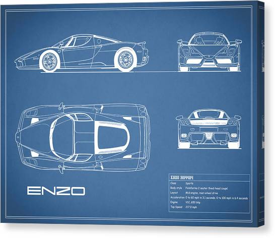 Car blueprint canvas prints page 4 of 25 fine art america car blueprint canvas print enzo ferrari blueprint by mark rogan malvernweather Gallery