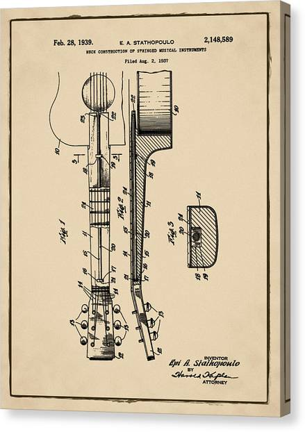 Slide Guitars Canvas Print - Epiphone Guitar Patent 1939 Sepia by Bill Cannon