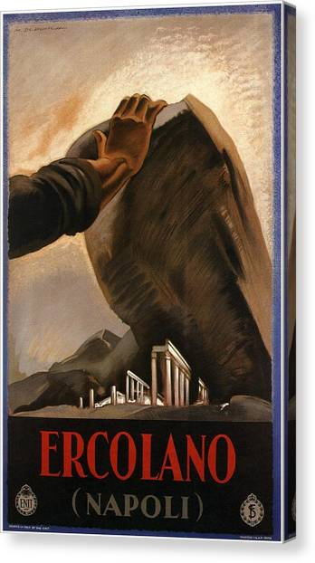 Mount Vesuvius Canvas Print - Ercolano - Napoli - Naples, Italy - Retro Travel Poster - Vintage Poster by Studio Grafiikka