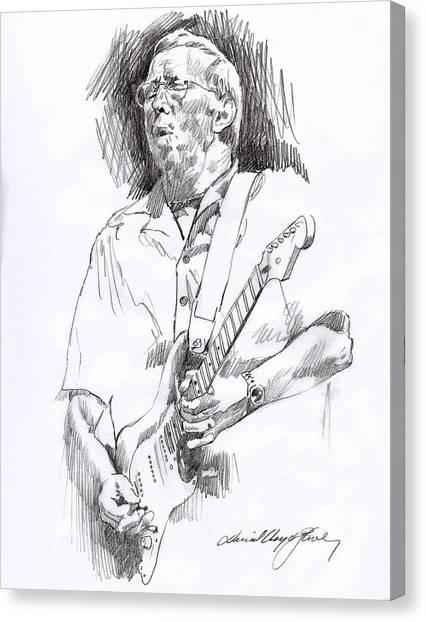 Eric Clapton Canvas Print - Eric Clapton Blue by David Lloyd Glover