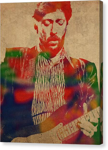 Eric Clapton Canvas Print - Eric Clapton Watercolor Portrait by Design Turnpike