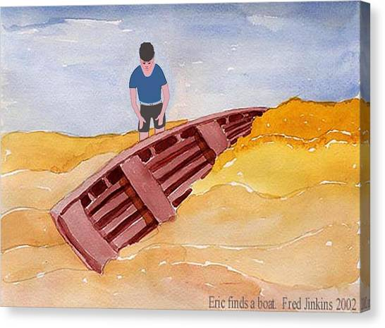 Buried Canvas Print - Eric Finds A Boat by Fred Jinkins