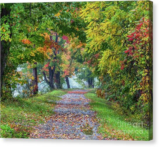Erie Canal In Fall Canvas Print