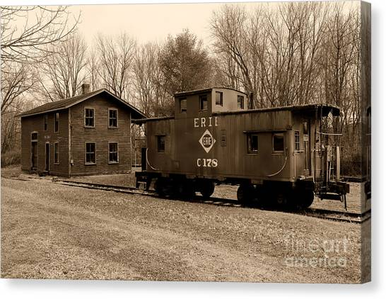 Train Conductor Canvas Print - Erie Rr Line Caboose In Black And White by Paul Ward