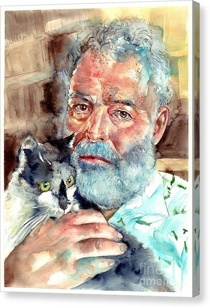 Pablo Picasso Canvas Print - Ernest Hemingway Watercolor by Suzann's Art