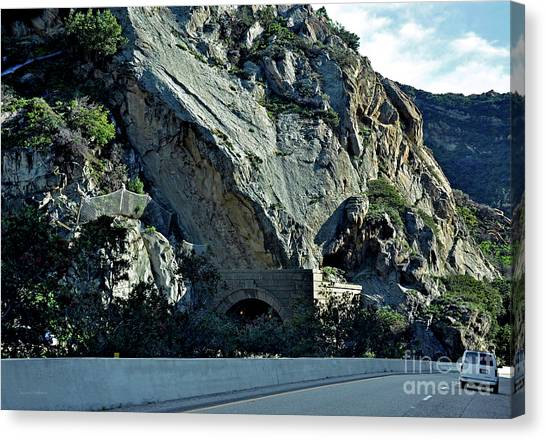 Eroding Hillside And Tunnel Canvas Print