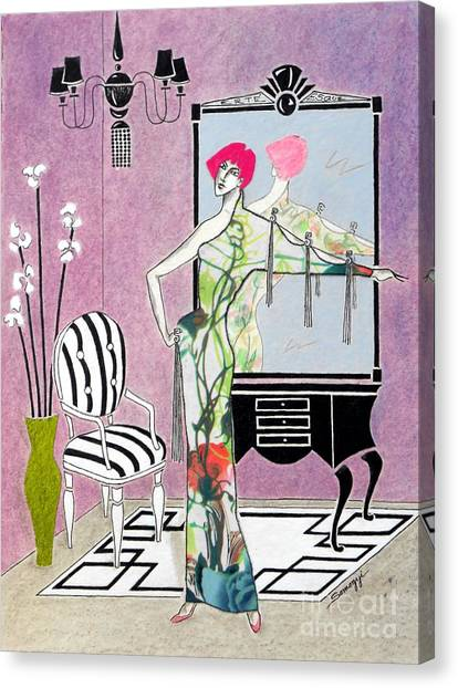 Erte'-esque -- Art Deco Interior W/ Fashion Figure Canvas Print