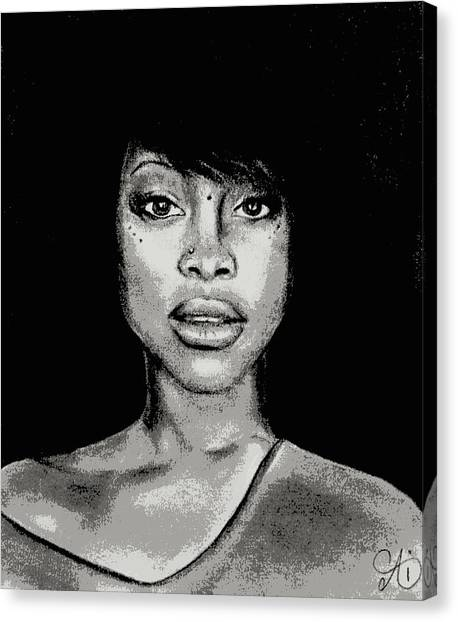 Erykah Baduism - Pencil Drawing From Photograph - Charcoal Pencil Drawing By Ai P. Nilson Canvas Print