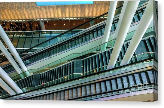 Escalators And Columns In Munich Airport Canvas Print