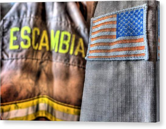 Volunteer Firefighter Canvas Print - Escambia County Fire And Rescue by JC Findley
