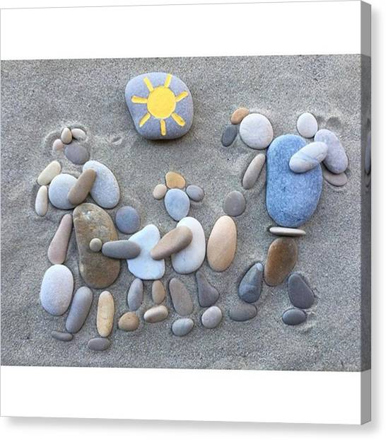 Immigration Canvas Print - Escape - The Picture Of Name On Stones by Adriano La Naia