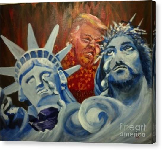 Canvas Print featuring the painting Escape On Tears Of Love And Liberty by Saundra Johnson