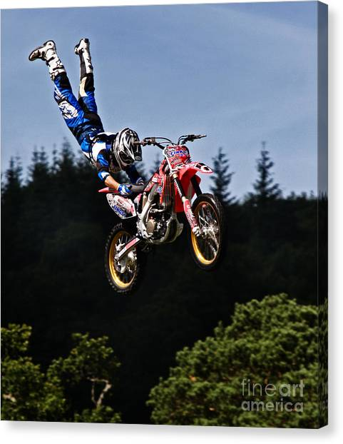Motocross Canvas Print - Escaping Motorbike by Angel Ciesniarska