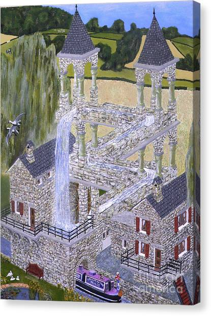 Canvas Print featuring the painting Escher's Mill Landscaped And Painted By Eric Kempson by Eric Kempson