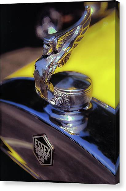 Canvas Print featuring the photograph Essex Super 6 Hood Ornament by Samuel M Purvis III
