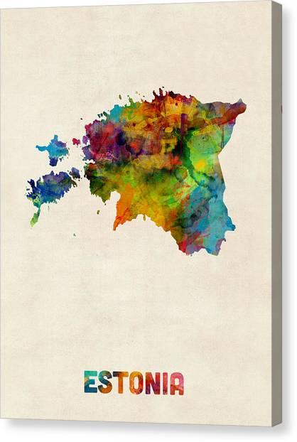 Watercolour Canvas Print - Estonia Watercolor Map by Michael Tompsett
