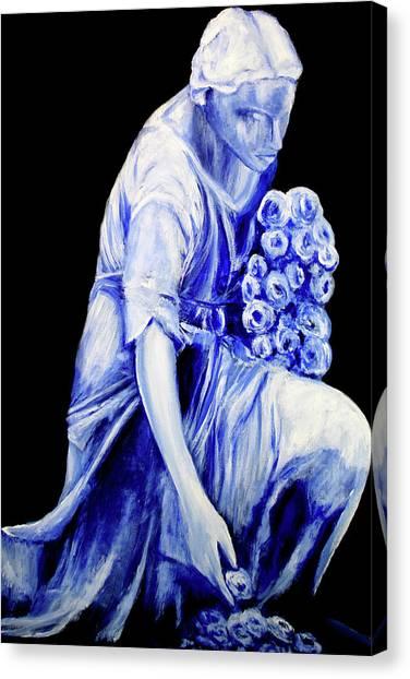 Flower Girl In Blue Canvas Print