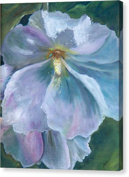 Ethereal White Hollyhock Canvas Print
