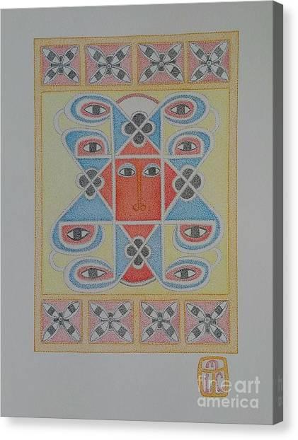 Ethiopian Cherub Talismen Scroll Canvas Print