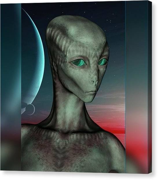 Outer Space Canvas Print - Alien Girl by Viaruss Ut-Gella