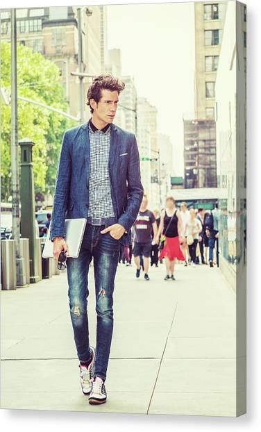 European College Student Studying In New York Canvas Print