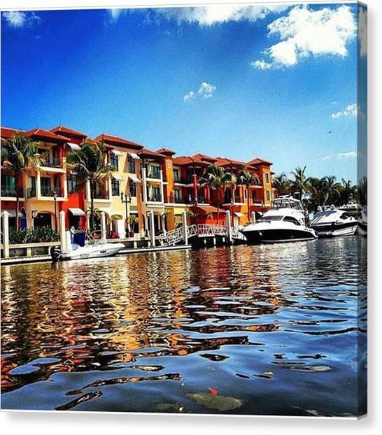 Kayaks Canvas Print - Kayaking At Naples Bay Resort by Janel Cortez