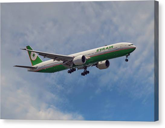 Airlines Canvas Print - Eva Air Boeing 777-35e by Smart Aviation