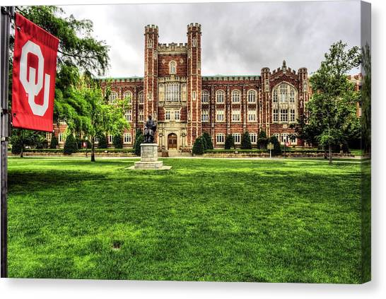 University Of Oklahoma Norman Campus University Of Oklahoma Canvas Print - Evans Hall University Of Oklahoma by JC Findley