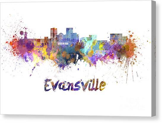 Evansville Canvas Print - Evansville Skyline In Watercolor  by Pablo Romero