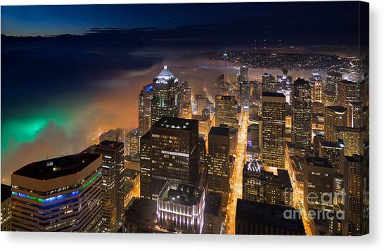 Cloud Forests Canvas Print - Eve Of The Superbowl In Seattle by Mike Reid