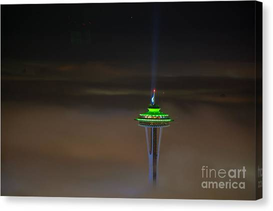 Cloud Forests Canvas Print - Eve Of The Superbowl Space Needle by Mike Reid
