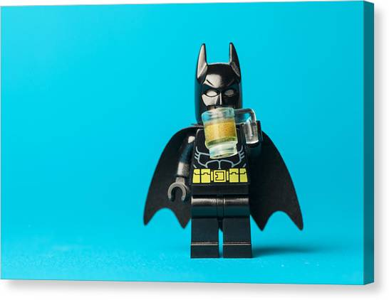Bat Canvas Print - Even Batman Needs A Beer by Samuel Whitton