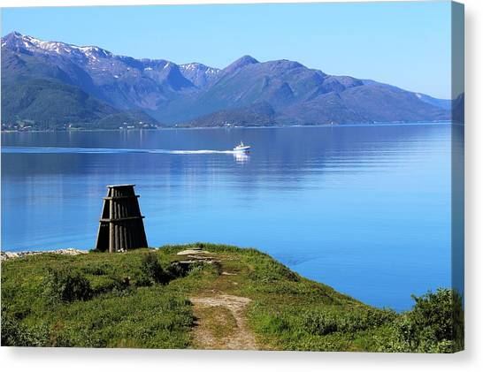Evenes, Fjord In The North Of Norway Canvas Print