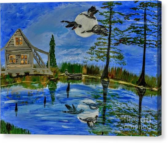Hoodie Canvas Print - Evening At Acadiana Pond by Seaux-N-Seau Soileau