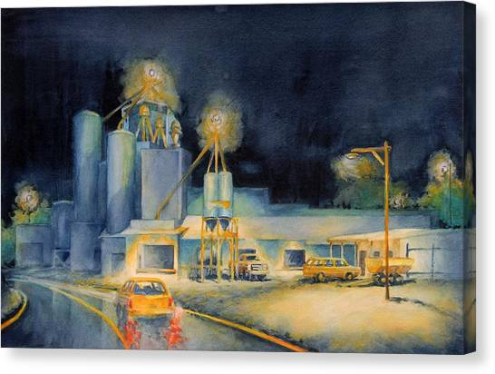 Mills Canvas Print - Evening At Lindner Feed And Mill by Virgil Carter