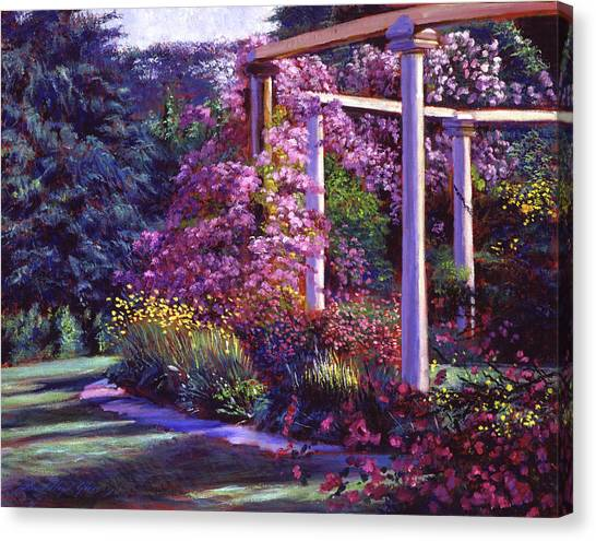 Arbor Canvas Print - Evening At The Elegant Garden by David Lloyd Glover