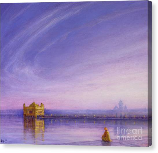 Sikh Canvas Print - Evening At The Golden Temple, Amritsar by Derek Hare
