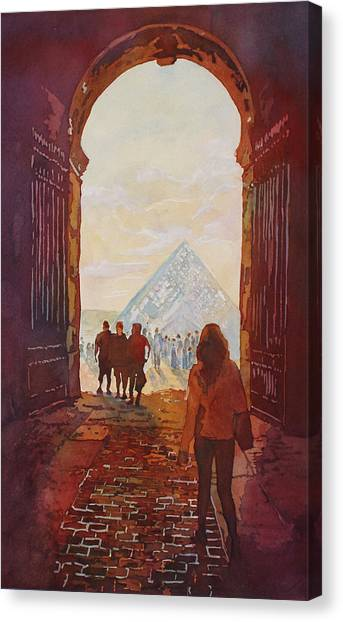 The Louvre Canvas Print - Evening At The Louvre by Jenny Armitage