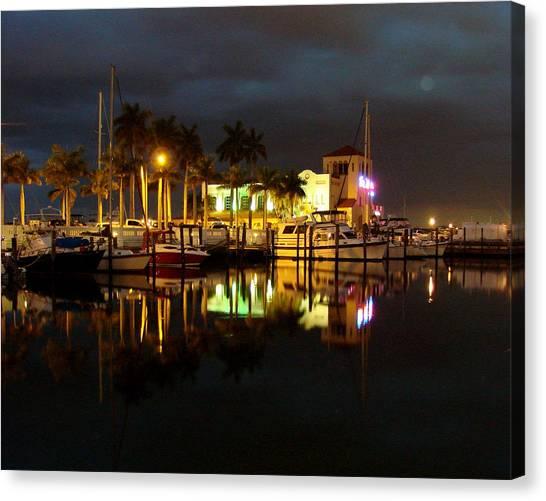 Evening At The Marina Canvas Print by Kimberly Camacho