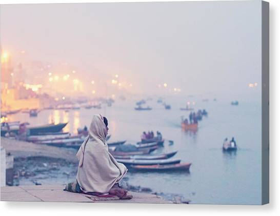 Evening At Varanasi, Varanasi, India Canvas Print