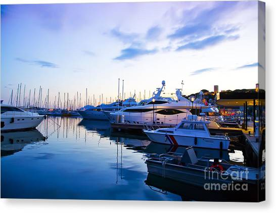 evening at water in Cannes Canvas Print