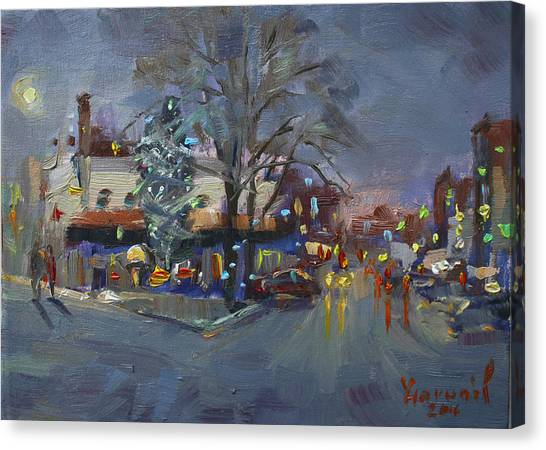 Pizza Canvas Print - Evening At Webster And Main St by Ylli Haruni