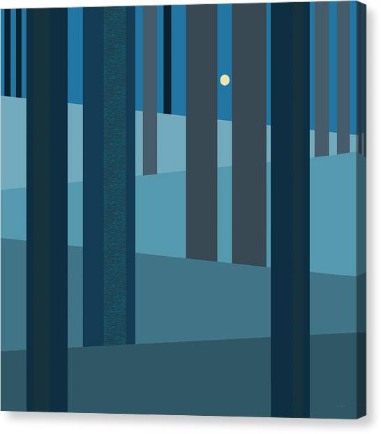 Evening Blues - Abstract Trees Canvas Print