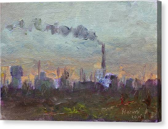 Factory Canvas Print - Evening By Industrial Site by Ylli Haruni