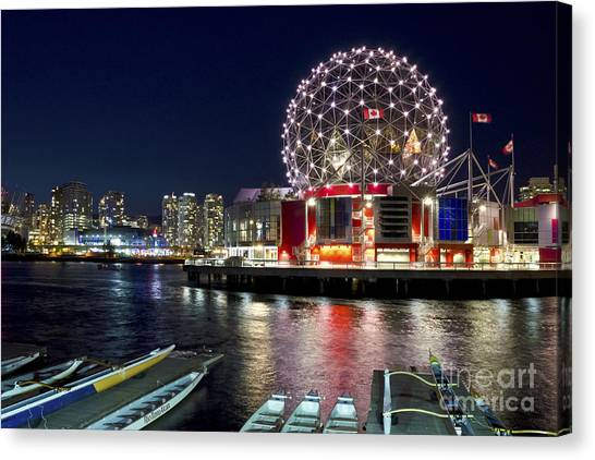 Evening By Science World Vancouver Canvas Print