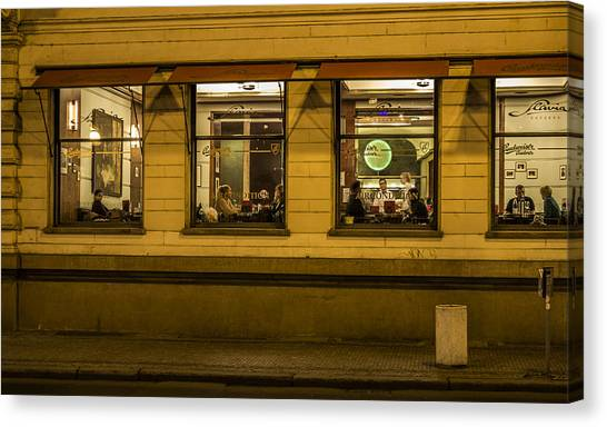 Evening Cafe In Prague Canvas Print by Marek Boguszak