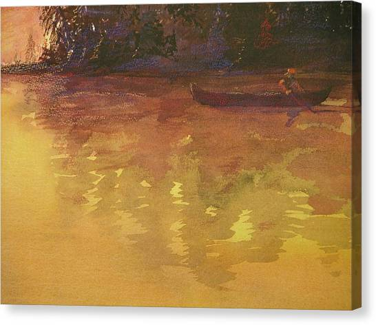 Evening Canoe Ride Canvas Print by Walt Maes