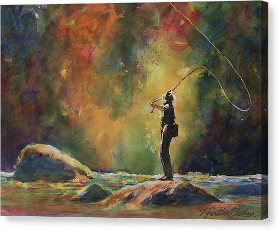 Fly Fishing Canvas Print - Evening Cast by Therese Fowler-Bailey